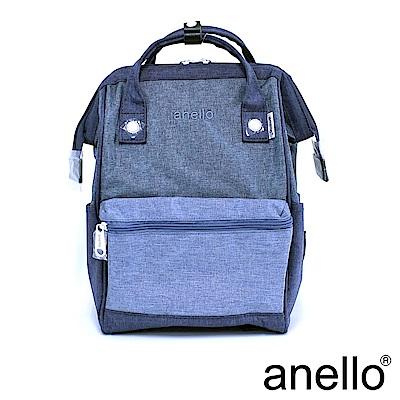 日本正版anello 高雅混色紋理 刺繡LOGO後背包〈深藍丹寧DML〉M