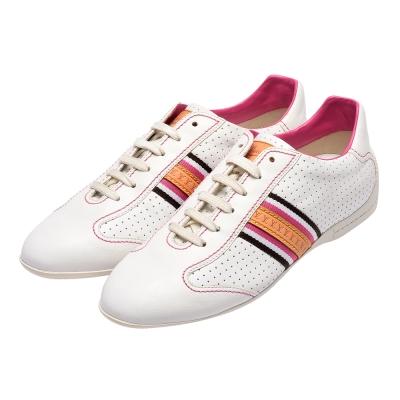 LOUIS VUITTON GO1017 LV壓印皮革飾邊綁帶休閒鞋白X桃紅-36.5