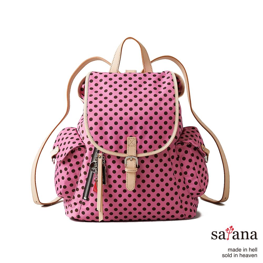 satana -929 Ladies 小確幸‧優雅小型後背包-凡爾賽玫瑰圓點