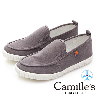 Camille's 韓國空運-正韓製-馬卡龍色帆布懶人休閒鞋-灰色