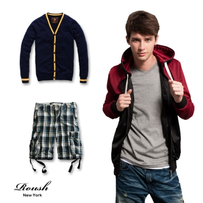 Roush-美式風格外套-長短褲-任選2件-1080