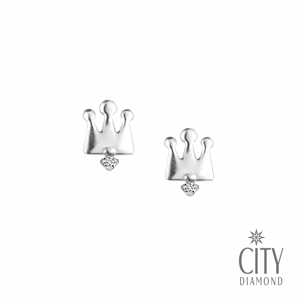 City Diamond引雅【東京Yuki】10K鑽石皇冠白K耳環