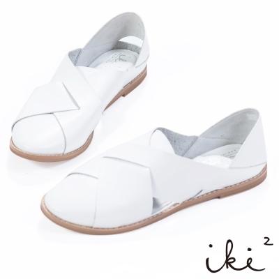 iki2-真皮舒適編織感平底涼鞋 - 清新白