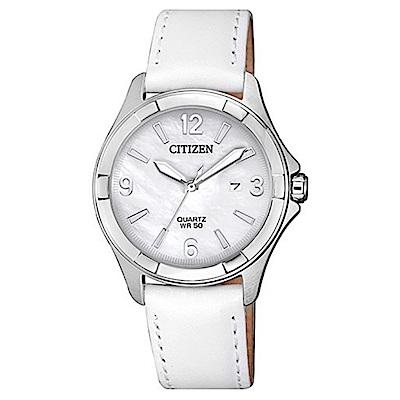 CITIZEN星辰 優雅絕美白蝶貝石英女錶 (EU6080-07D)-白色/32mm