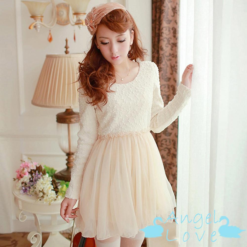 Angel Love-洋裝 立體絨面針織拼接網紗洋裝 (杏色)