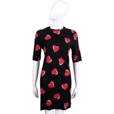 LOVE MOSCHINO 黑色愛心圖騰棉質五分袖洋裝