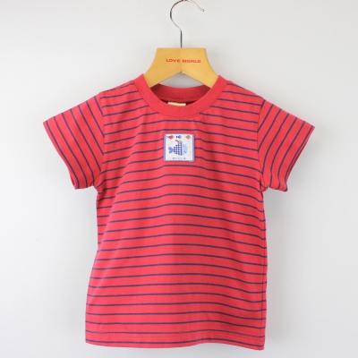 愛的世界 MYBABY 純棉圓領小魚派對橫紋短袖T恤/2歲
