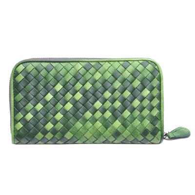 Yasmine進口羊皮手工編織雙色拉鍊長夾(深綠)