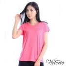 Victoria 圓貼片V領基本短袖T-女-粉混紗