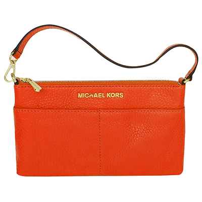 MICHAEL KORS亮橘荔枝紋全皮手提掛小包