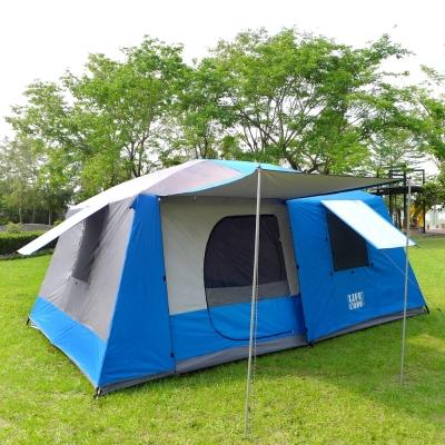 LIFECODE《二房一廳》抗紫外線超大8人帳篷(二門四窗)-藍色