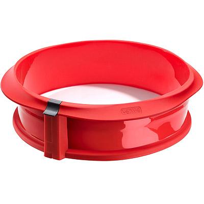 LEKUE 深蛋糕環+瓷盤(紅23cm)