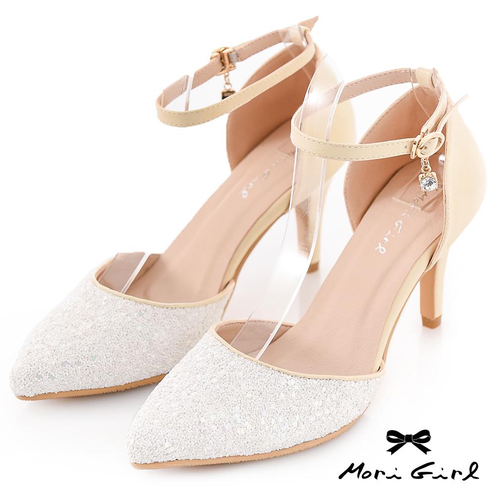 Mori girl璀璨焦點-華麗水鑽宴會跟鞋 白