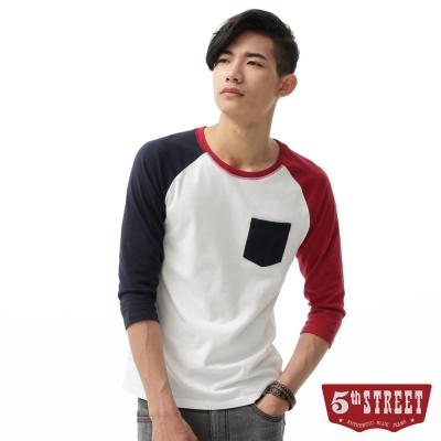 5th STREET T恤 撞色印花七分袖T恤-男-白色