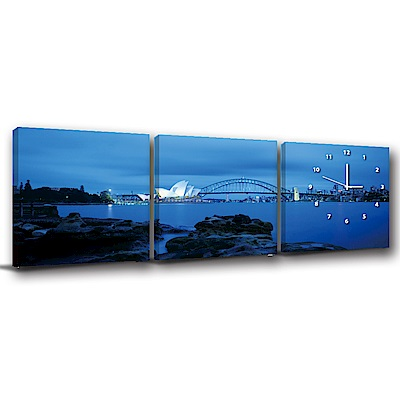 美學365-三聯式方形 掛畫靜音時鐘 雪梨美景 40x40cm