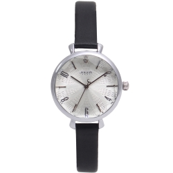 JULIUS聚利時 花漾時光立體鏡面皮錶帶腕錶-黑/32mm
