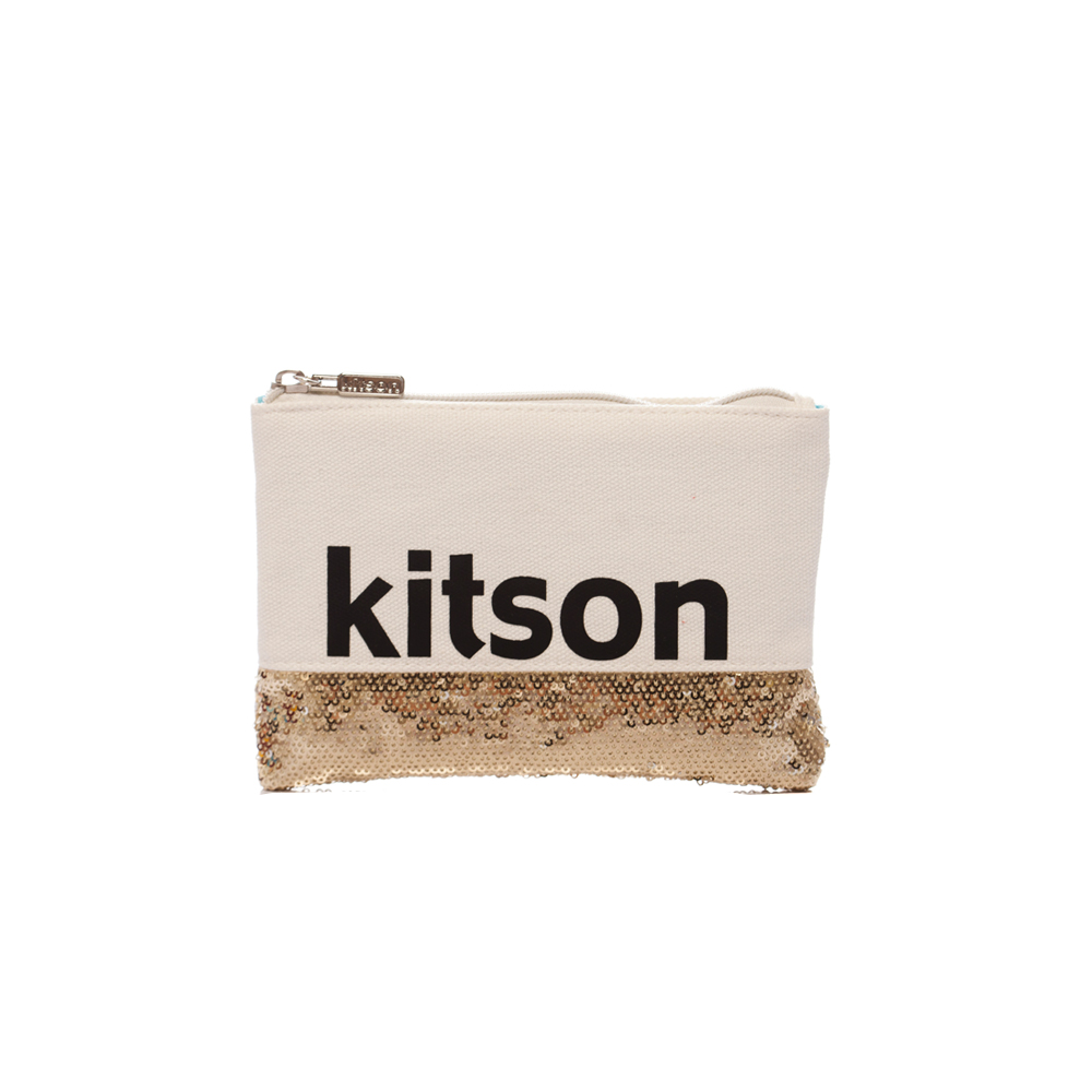 kitson 亮片拼接長形隨身包 / 化妝包 ( 白x金 )