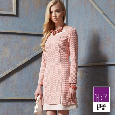 ILEY伊蕾-粉珊瑚紅雙色修身洋裝