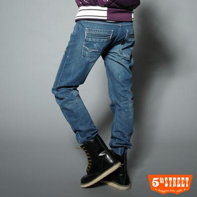 5th-STREET-原創態度-3D仿舊立體窄直筒牛仔褲-女款-石洗藍