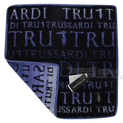 TRUSSARDI 漸層字母棉質方巾-藍
