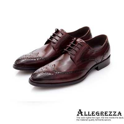 ALLEGREZZA-真皮男鞋-昂首闊步-沖孔雕花綁帶尖頭皮鞋  咖啡紅色