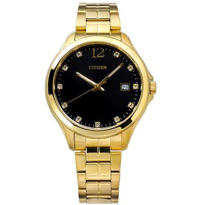 CITIZEN 星辰表 日期礦石強化玻璃 不鏽鋼手錶-黑x鍍金/36mm