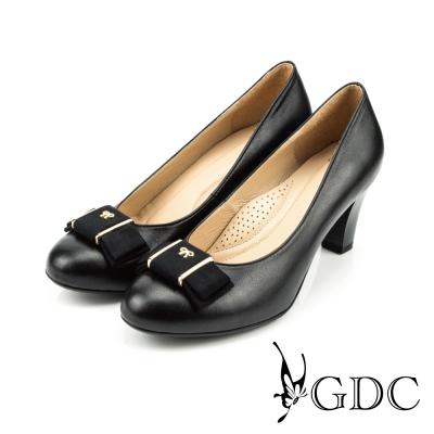 GDC-都會-氣質緞面蝴蝶結羊皮低粗跟鞋-黑色
