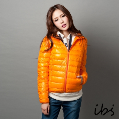 ibs-極輕量純白絨立領羽絨外套-女-橘