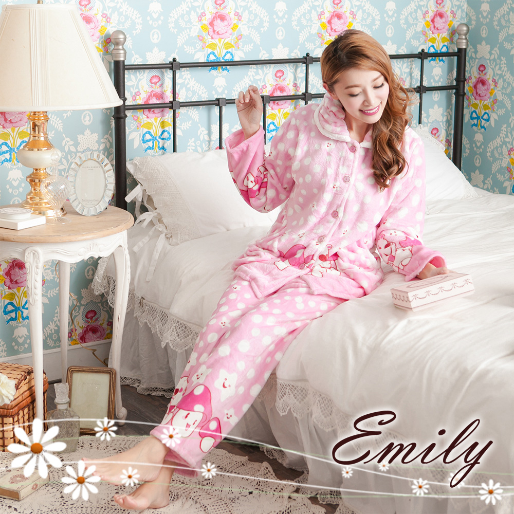 Emily Sweet 粉甜可人兒法蘭絨兩件式褲裝睡衣