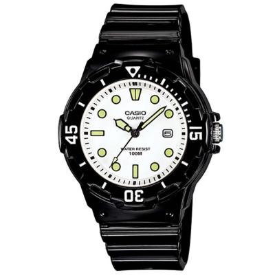 CASIO潛水風運動休閒腕錶LRW-200H-7E1-白x螢光34mm