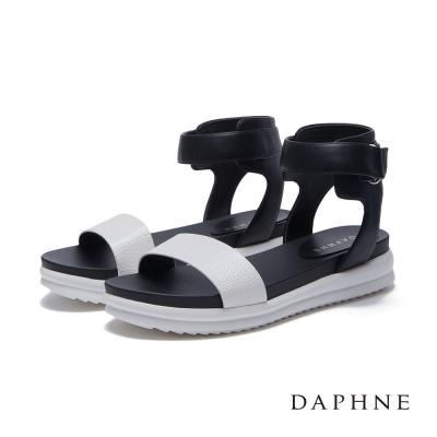 達芙妮DAPHNE 涼鞋-一字繞踝魔鬼氈厚底涼鞋-白