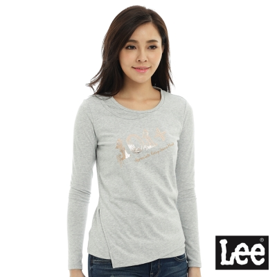 Lee 圓領貼身長袖T恤/101+-女款-灰色