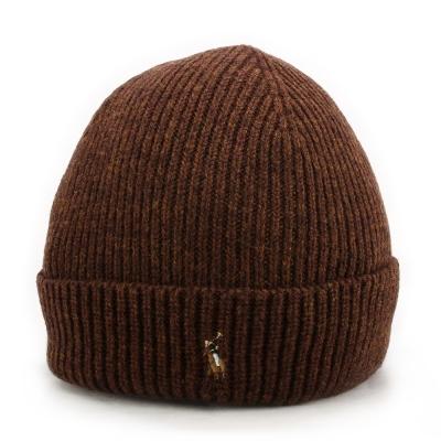 RALPH LAUREN POLO 素面反摺小馬刺繡LOGO羊毛針織毛帽-咖啡色