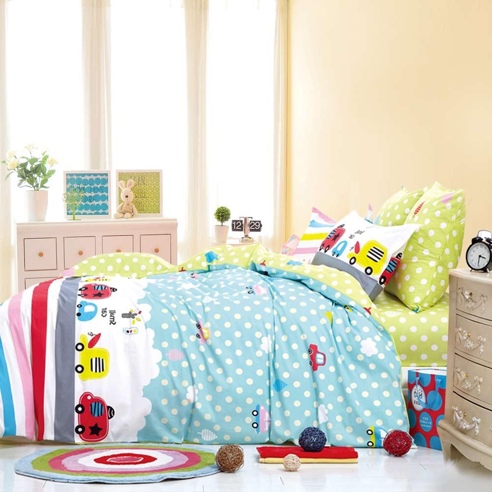 Ania Casa 台灣製 100%純棉 - 雙人床包枕套三件組 (快樂巴士)