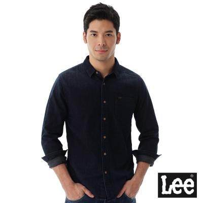 Lee  長袖素面牛仔襯衫/VL-男款-藍