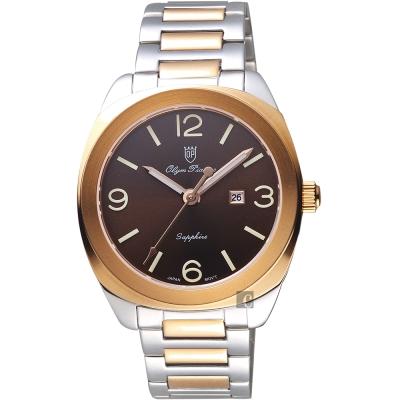 Olympianus 奧柏 經典復刻手錶-咖啡x雙色/40mm