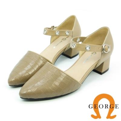 GEORGE 喬治-閃耀動人壓紋牛皮扣帶粗跟鞋-駝色