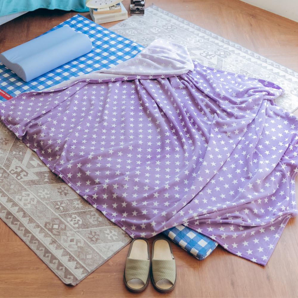 米夢家居-台灣製造-加長鄉村星星可水洗保暖搖粒絨毯/床單155*210公分-紫