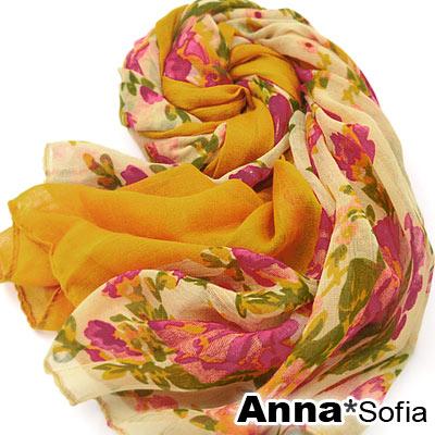 AnnaSofia-嵐帶漫花-加大加寬圍巾-深黃系