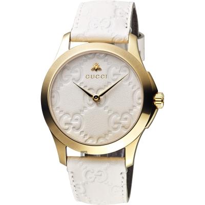 GUCCI古馳 G-Timeless 蜜峰雙G手錶-米白x金框/38mm