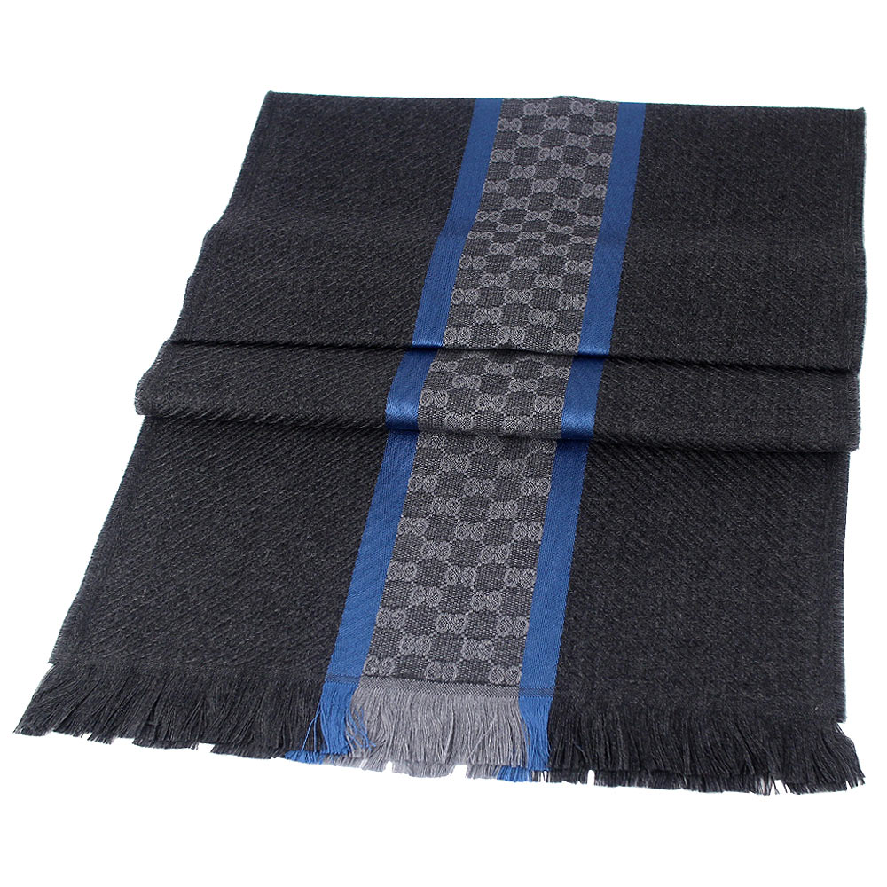 GUCCI 鐵灰色灰色雙G條紋編織羊毛條紋圍巾GUCCI