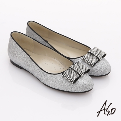 A.S.O 奢華美型 全真皮蝴蝶結金蔥平底鞋 銀