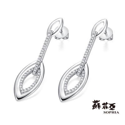 蘇菲亞SOPHIA 耳環-流線型可晃動鑽石耳環