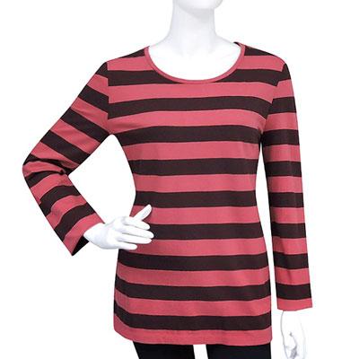 BURBERRY 磚紅色條紋長袖T恤-L號