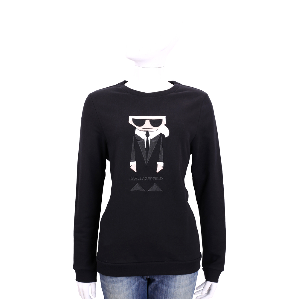 Karl Lagerfeld Koktail Karl 老佛爺圖騰長袖T恤(黑色)