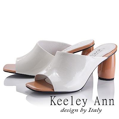 Keeley Ann 漆皮質感~斜面風圓柱跟拖鞋(白色-Asin系列)