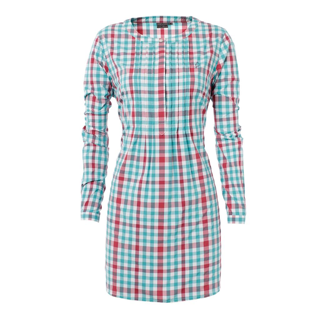 【hilltop山頂鳥】女款 吸濕快乾長版襯衫S05F48-海藍綠/酒紅