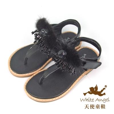 天使童鞋-C2401 雅緻羽毛流蘇夾腳涼鞋(中-大童)-黑
