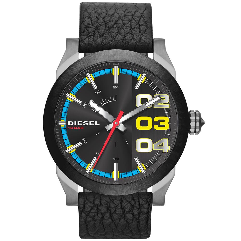 DIESEL 盛夏狂熱時尚潮流腕錶-彩盤x黑帶/46mm