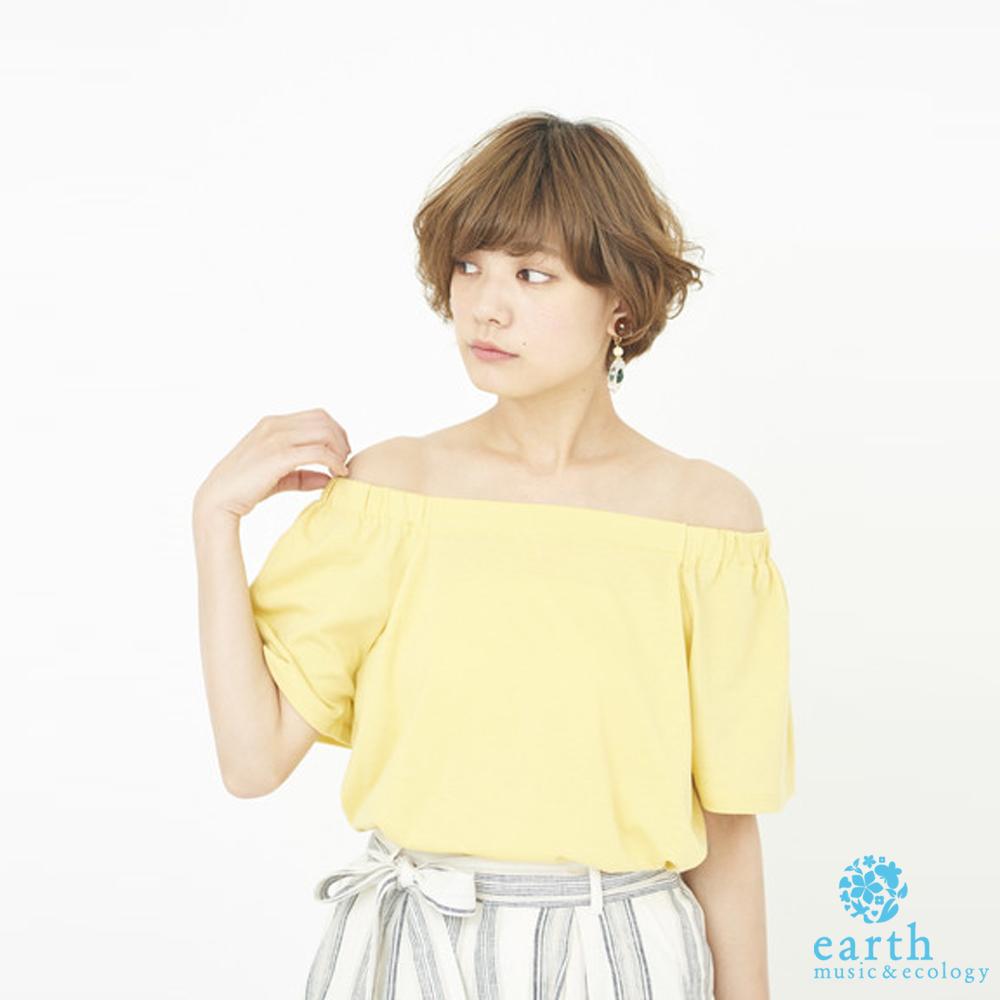 earth music 一字領設計短袖上衣